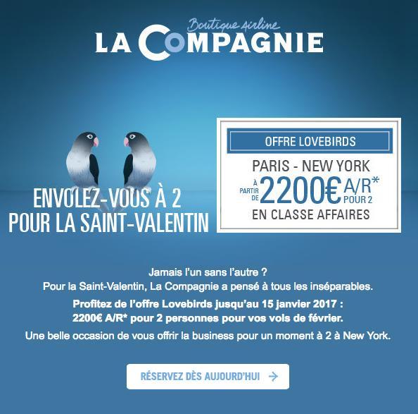 Vols A/R Paris - New York en classe Affaires pour 2 en Février