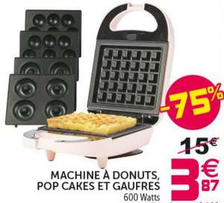 Machine à donuts, gaufres et pop cakes - 600 watts