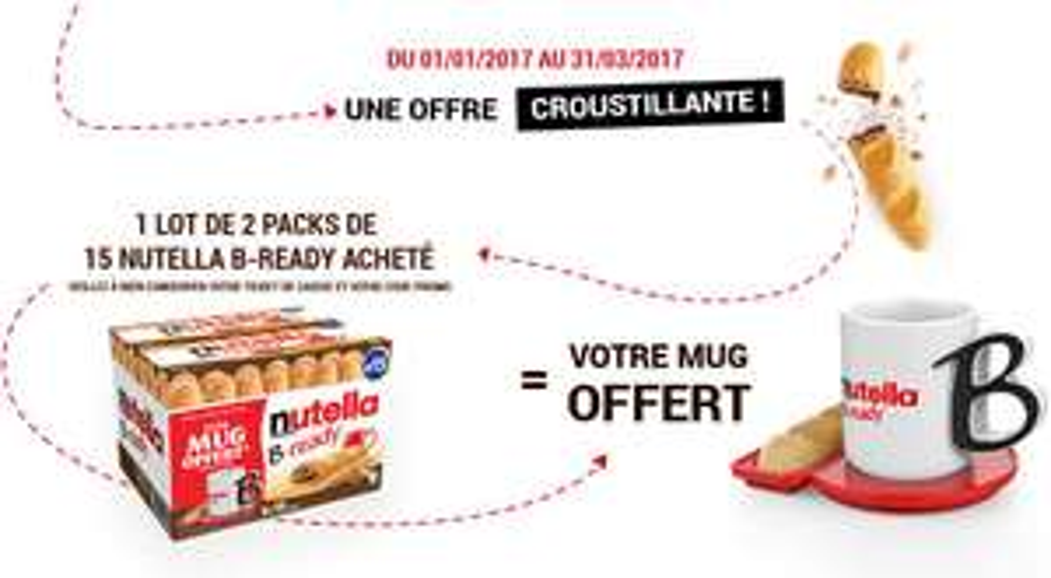 1 Lot de 2 packs de 15 Nutella B-Ready acheté = Un mug Nutella offert