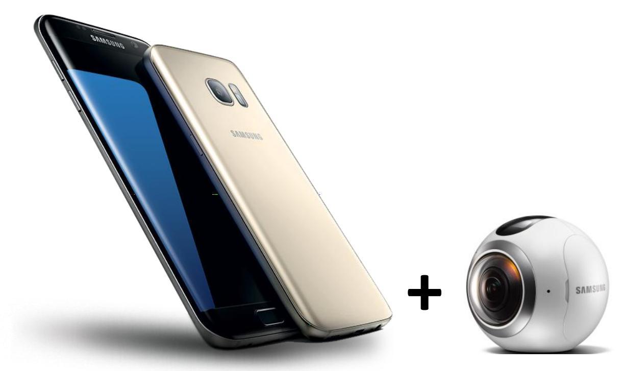 "Smartphone 5.1"" Samsung Galaxy S7 + Caméra Samsung Gear 360 (via ODR de 100€ + 100€ de reprise d'un téléphone en Click & Collect)"
