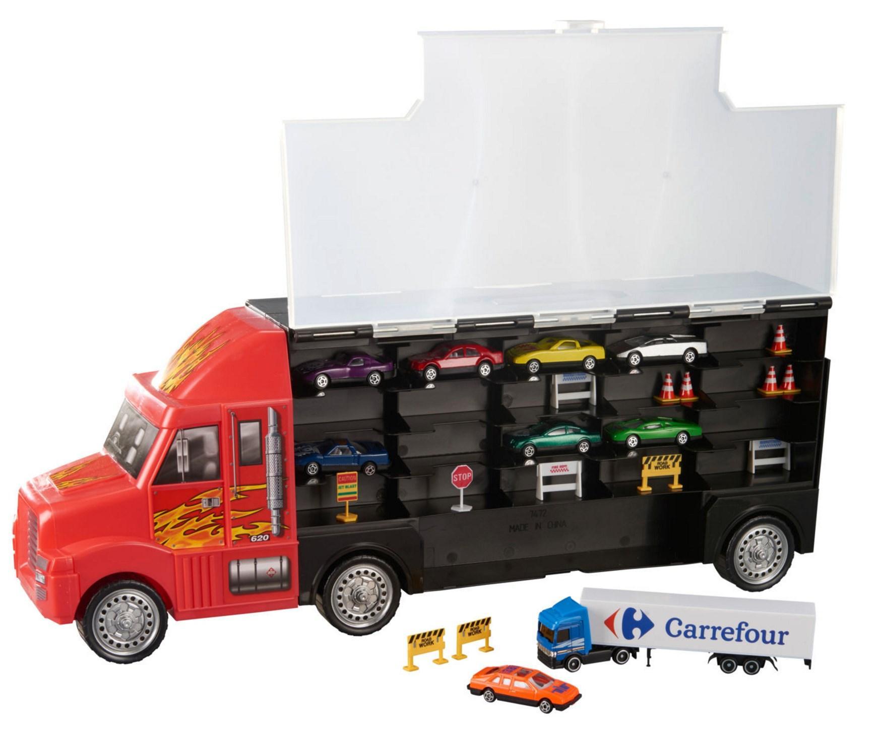 Camion valise Speedtrack + 8 petites voitures