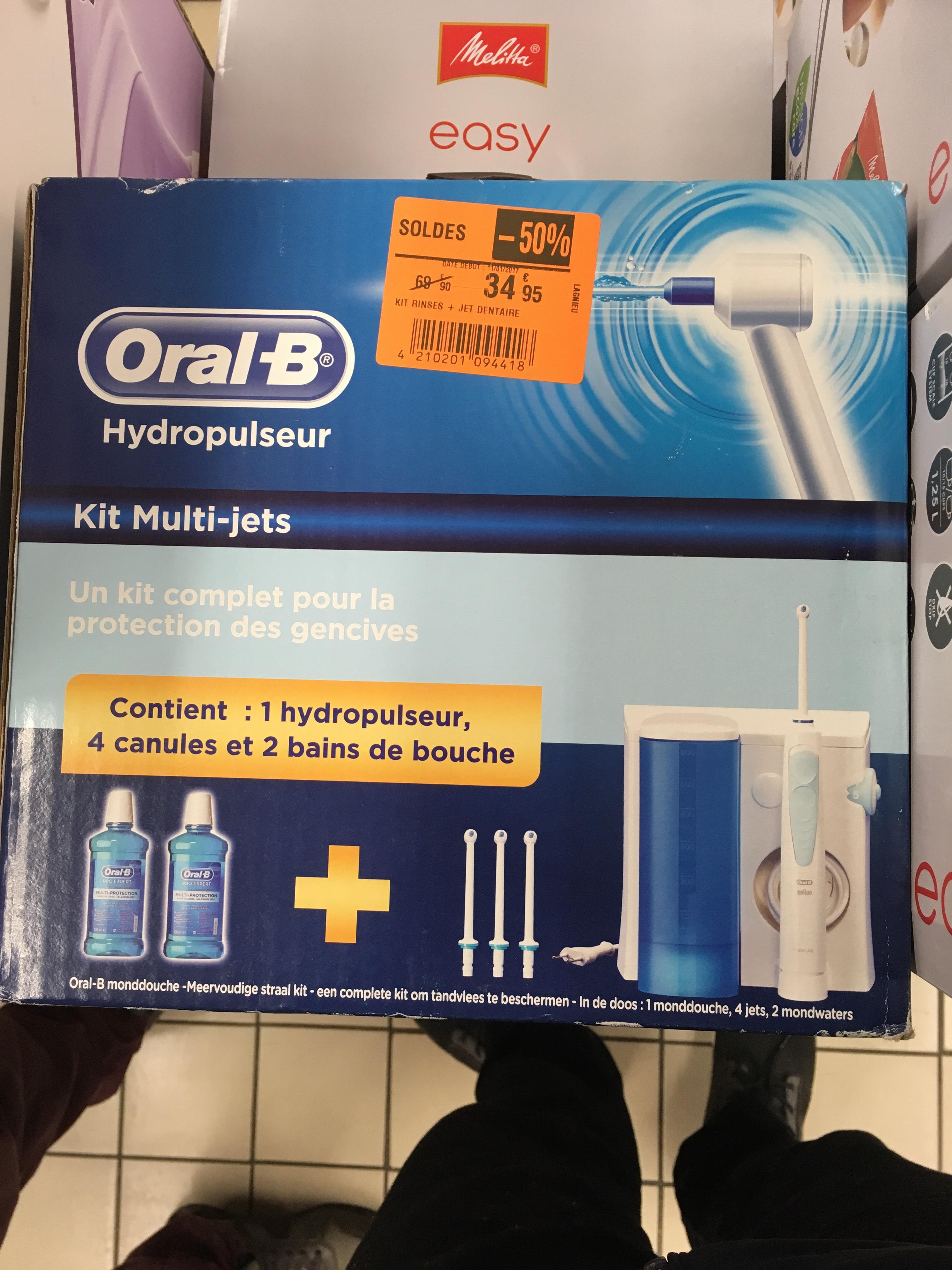 Kit Brosse à Dent Electrique Oral B hydropropulseur + 4 tiges + 2 bains de bouches