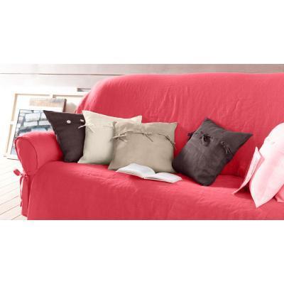 Housse rose à nouettes pour canapés 3 places à accoudoirs