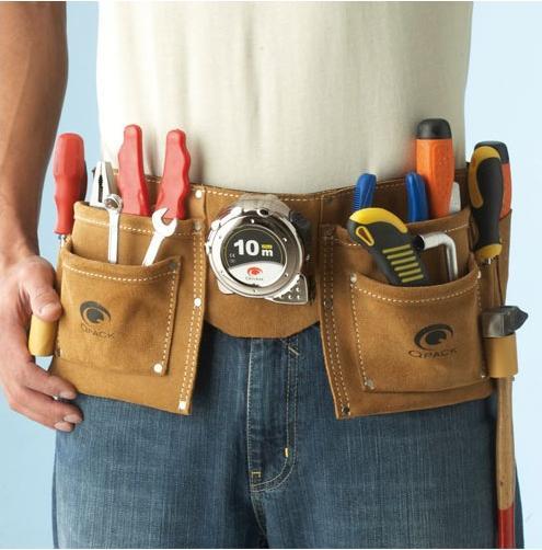 Ceinture porte-outils - avec 11 poches, en cuir (livraison comprise)