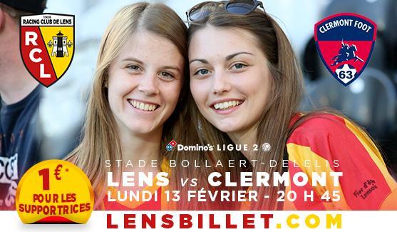Billet pour le match Lens - Clermont du lundi 13 février à 20h30 pour les femmes
