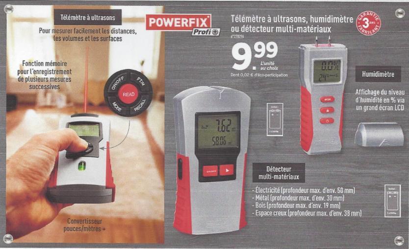 Télémètre à ultrasons, détecteur de matériaux ou humidimètre Powerfix