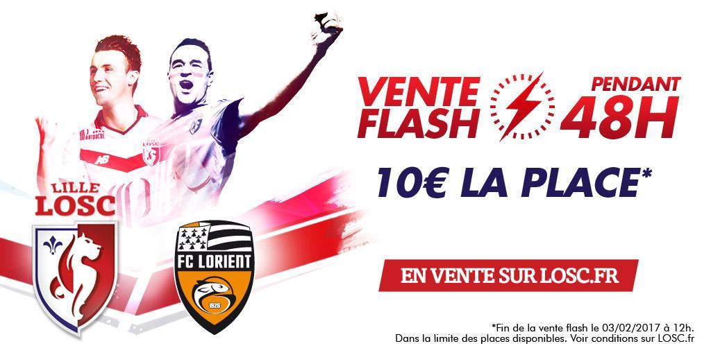 Place pour le match de football Lille - Lorient du 4 février