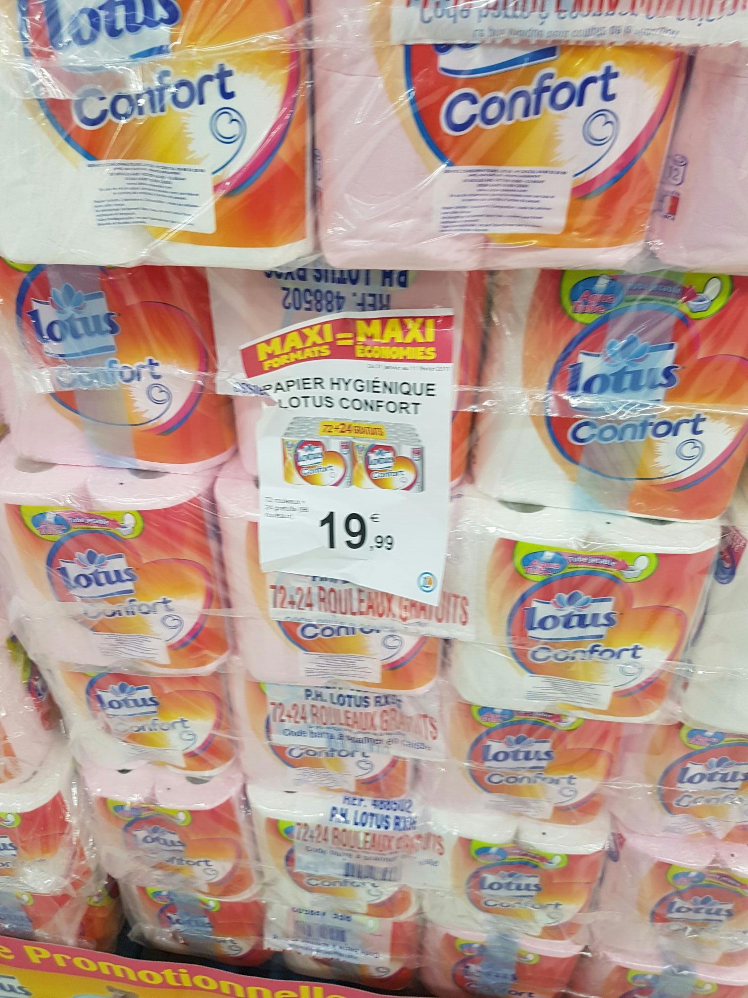 Lot de 96 rouleaux de papier toilette Lotus Confort Aquatube