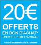 20€ offerts en bon d'achat tous les 100€ d'achat