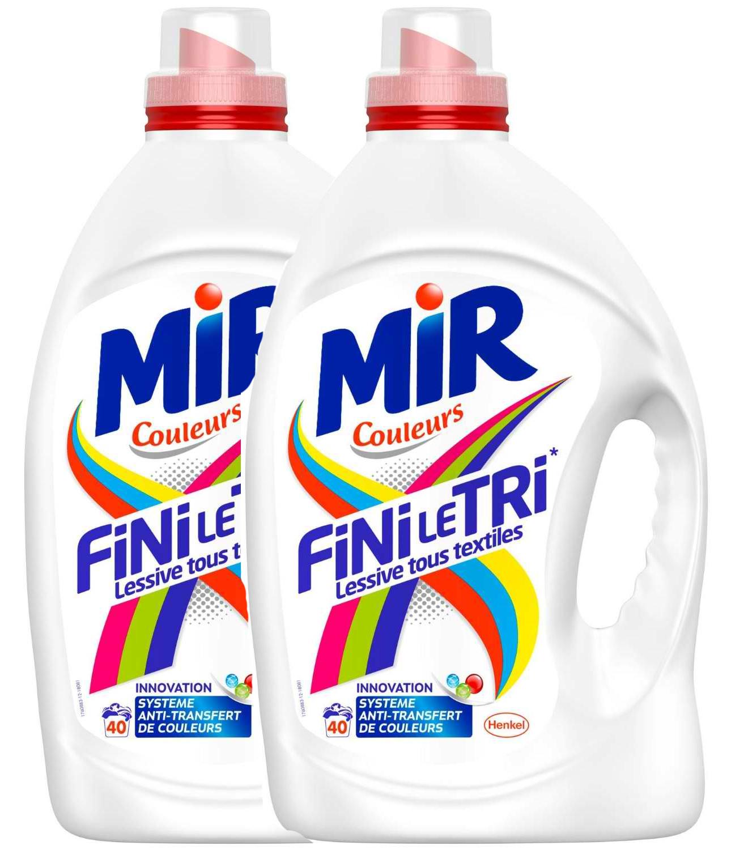 Un pack de lessive Mir Couleurs Fini le Tri acheté = Un offert, soit 40 capsules à 7.94€ ou  2 flacons de 3L