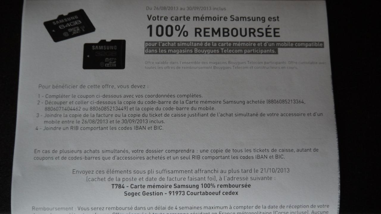Carte Mémoire 100% remboursée pour l'achat simultané d'un téléphone/carte mémoire en magasin