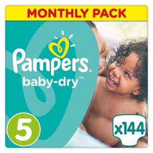 [Premiums] Sélection de couches Pampers en promotion. Exemple : Pack de 144 couches Pampers - Baby Dry - Couches Taille 5 (11-23 kg/Junior) - Pack Économique