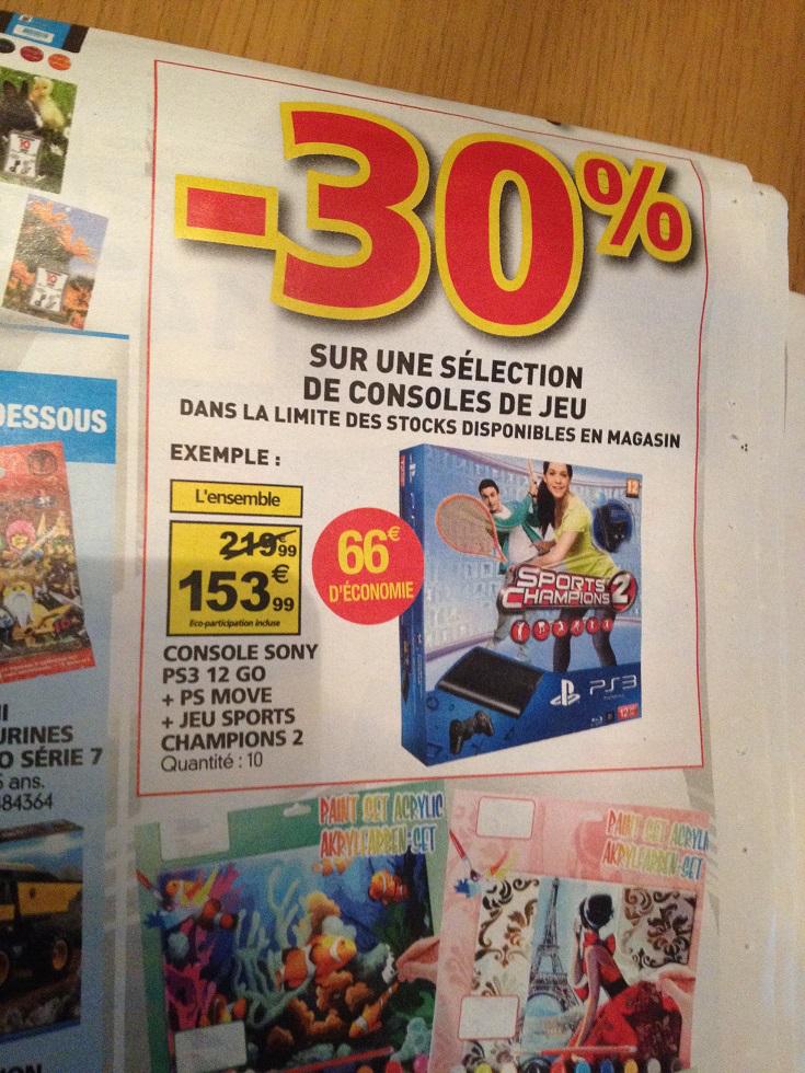 - 30% sur une sélection de consoles. Ex : PS3 12 Go + Sports Champion 2 + Pack Move