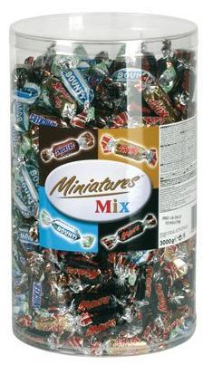 Boite de Miniatures Mix Mars Twix Snickers Bounty Tubo Chocolats - 3 kg