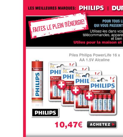 16 Piles AA LR6 philips poxerlife