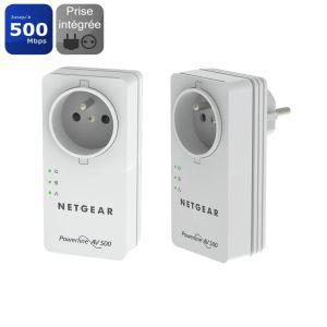 Pack de 2 prises CPL Netgear XAVB5401 500mbps avec prise femelle
