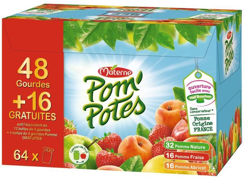 Pack de 64 gourdes Materne Pom'potes