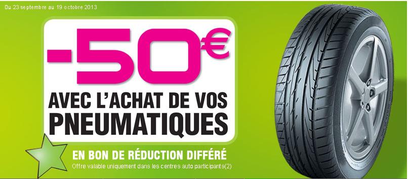 -50€ de réduction sur prestation ultérieure de 200€ minimum pour pour tout achat + pose de pneumatiques