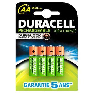 Lot de 4 piles rechargeables Duracell - Duralock AAx4 2400 mAh (LR6)