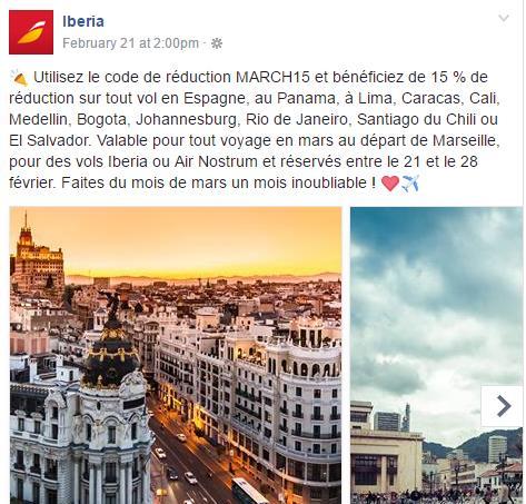 15 % de réduction sur certains vols IBERIA en mars au départ de Marseille