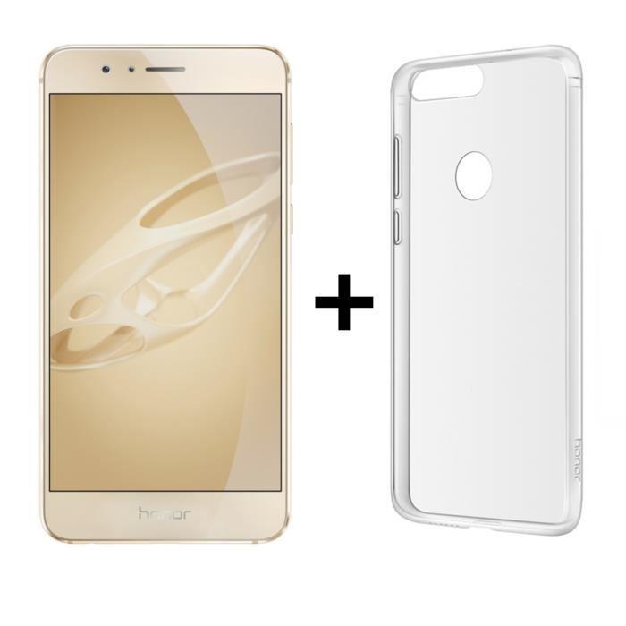 """Smartphone 5.2"""" Honor 8 Premium (4 Go de RAM, 64 Go, or) + coque transparente"""