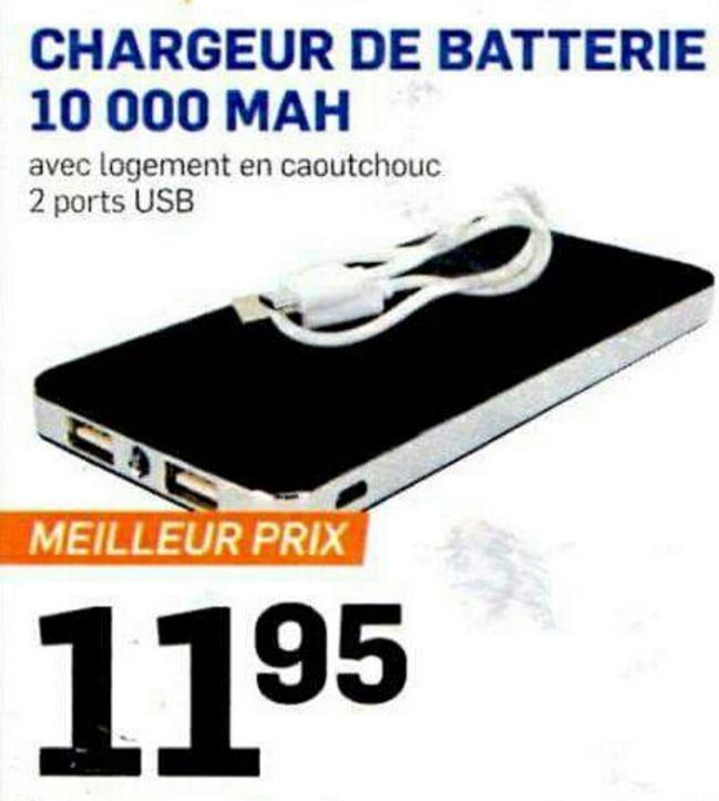batterie externe 10000 mah 2 ports usb. Black Bedroom Furniture Sets. Home Design Ideas