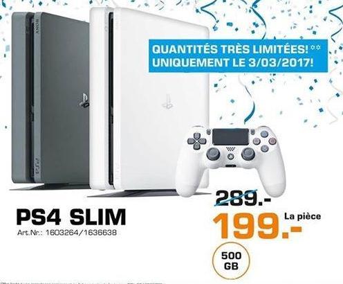 Console PS4 Slim 500 Go - Blanc ou Noir