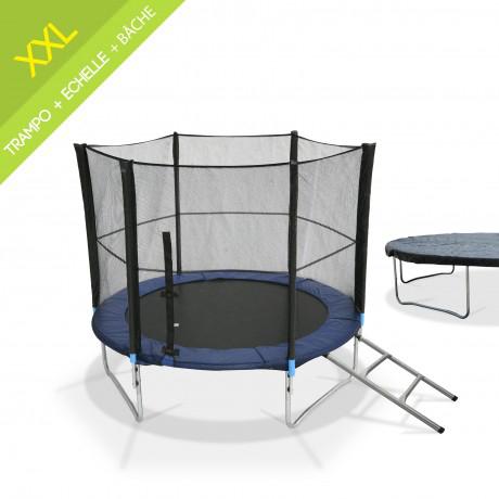 Kit trampoline Mars Ø 305 cm + Echelle et bâche de protection