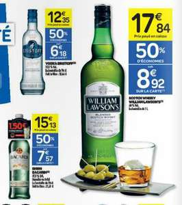 75% sur Vodka Eristoff, Rhum Bacardi, Whisky William Lawson's (promo + BDR + C-Wallet)