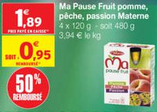 Compote Materne Ma Pause Fruit 4 x 120g Gratuit (+ Petit gain)