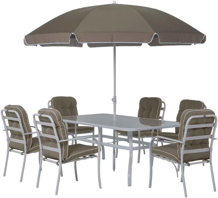Salon de jardin avec table 6 chaises parasol - Table de jardin avec parasol ...