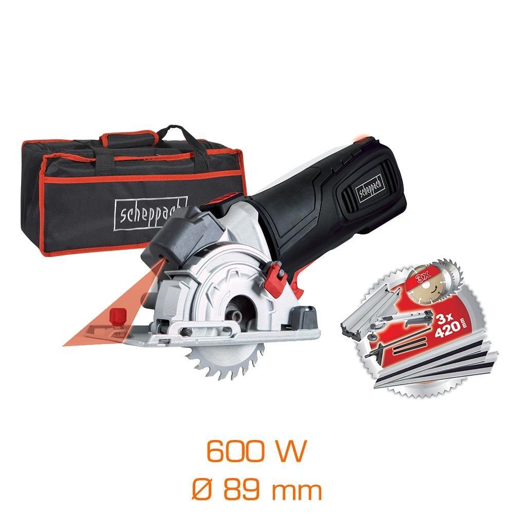 Pack Mini scie circulaire laser 600W Ø89 mm Black Edition - Base à onglet + 3 lames + rails & sac de transport