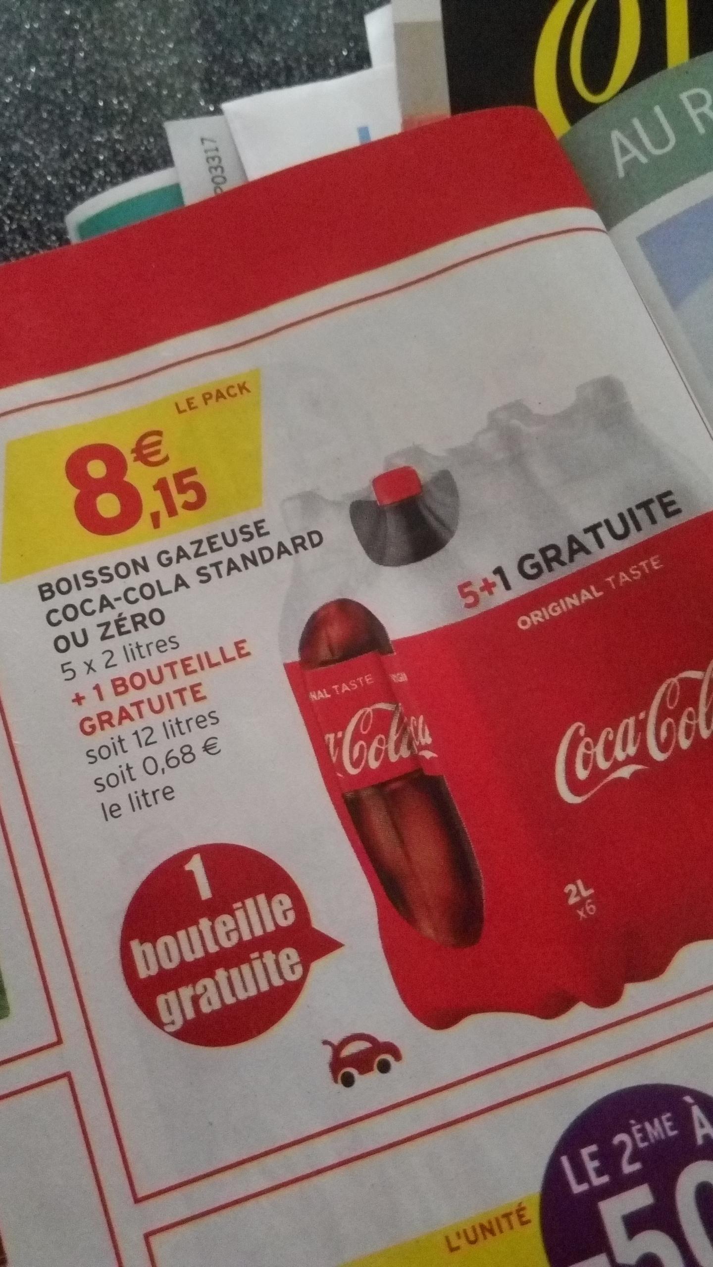 Pack de 6 bouteilles de Coca-Cola - 2 L (Normal ou Zéro)