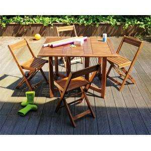 Salon de jardin en acacia : Table rabattable + 4 chaises – Dealabs.com