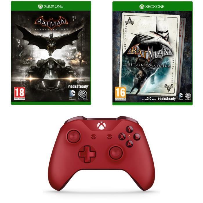 Batman : Return to Arkham + Batman Arkham Knight sur Xbox One + Manette sans-fil Pour Xbox One / PC (Rouge)