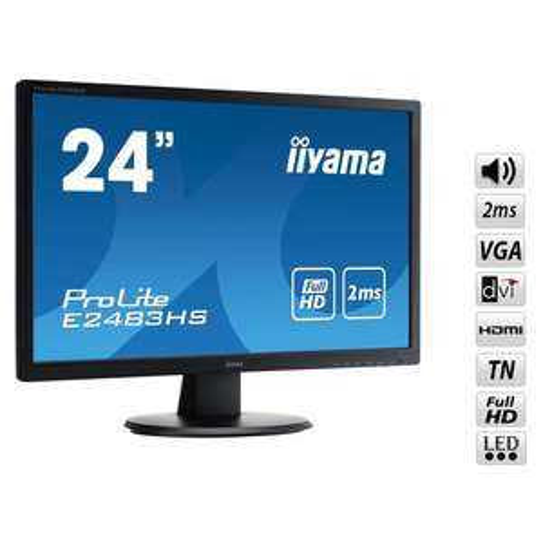 "Ecran PC 24"" Iiyama ProLite E2483HS-B1 - Full HD - 2 ms - HDMI / DVI / VGA"