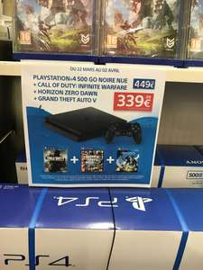 Pack console Sony PS4 Slim (500 Go) + Call of Duty: Infinite Warfare + Grand Theft Auto (GTA) V + Horizon : Zero Dawn