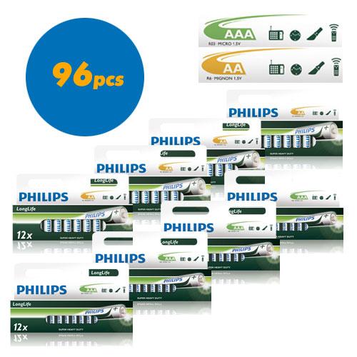 Pack de 96 piles Philips LR03 et LR6 Longlife