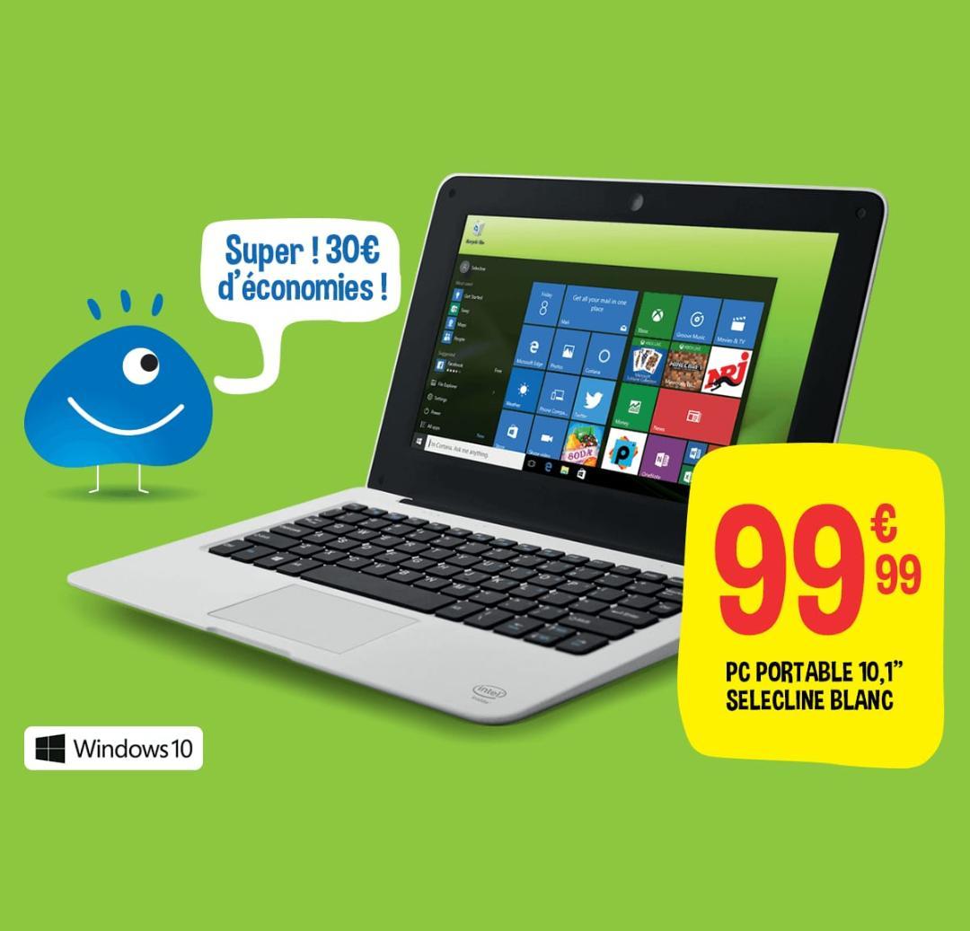 "Ordinateur portable 10"" Selecline Netbook French Boost - Intel BayTrail CR, 32 Go ROM, 1 Go RAM, Windows 10"