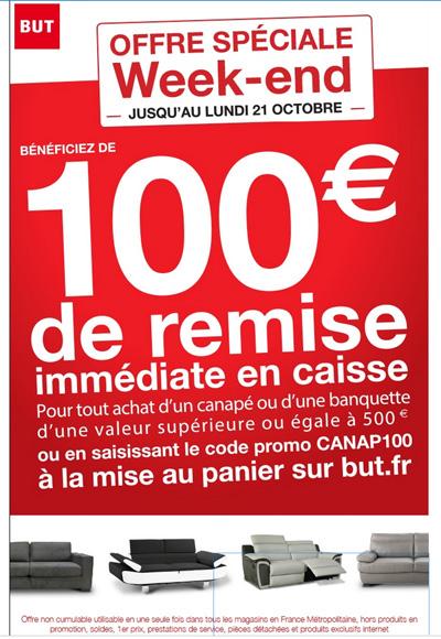 100€ de réduction immédiate pour tout achat d'un canapé d'une valeur minimum de 500€