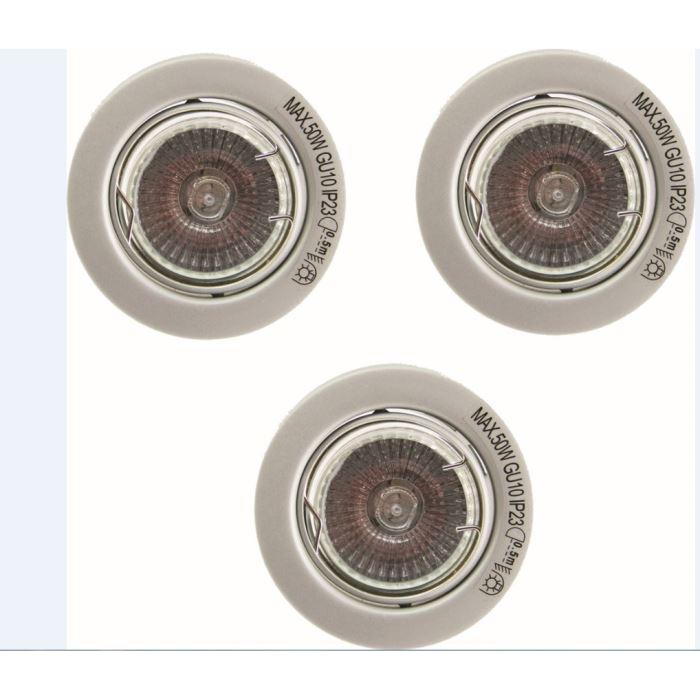 Kit de 3 spots Voltman GU10 3x50W - Ampoules incluses