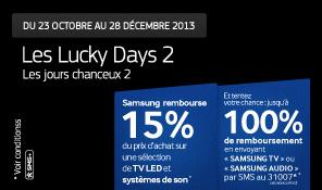Samsung Lucky Days 2 TV et Audio: ODR de -15 à -100% en fonction de votre chance