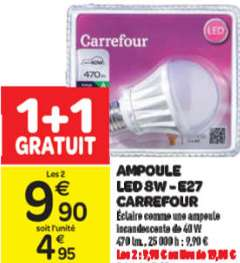 2 Ampoules LED 8W E27/B22