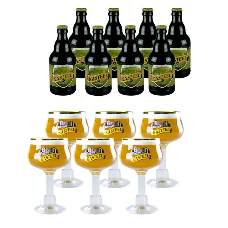 Lot de 8 bouteilles de bière Kasteel Hoppy 33 cl + 6 verres Kasteel 33cl