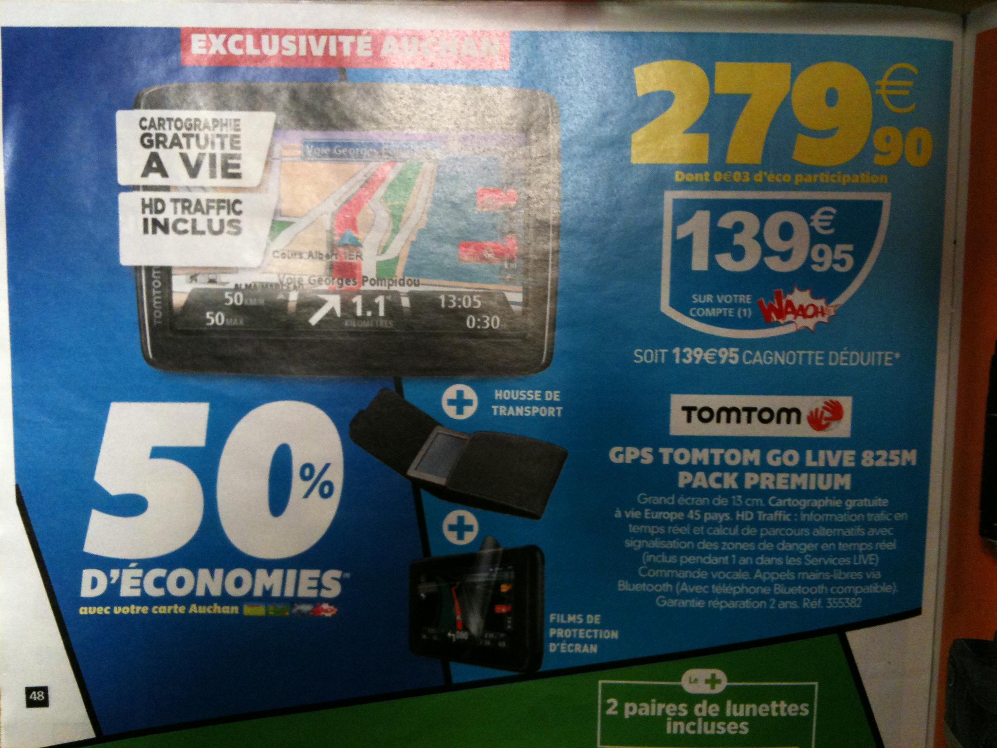 """Les 25 jours Auchan - Ex : GPS 5"""" TomTom GO 825 M (-50% sur carte Waaoh)"""
