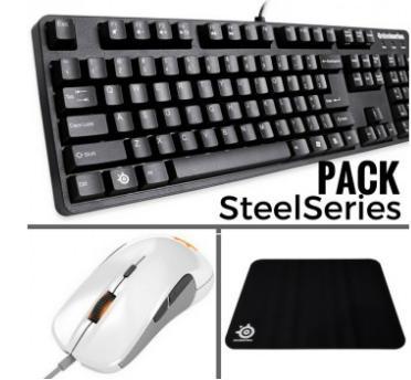 Pack Gaming  Steelseries : Clavier 6gv2 + Souris Rival 300 White  + Tapis de souris Qck+