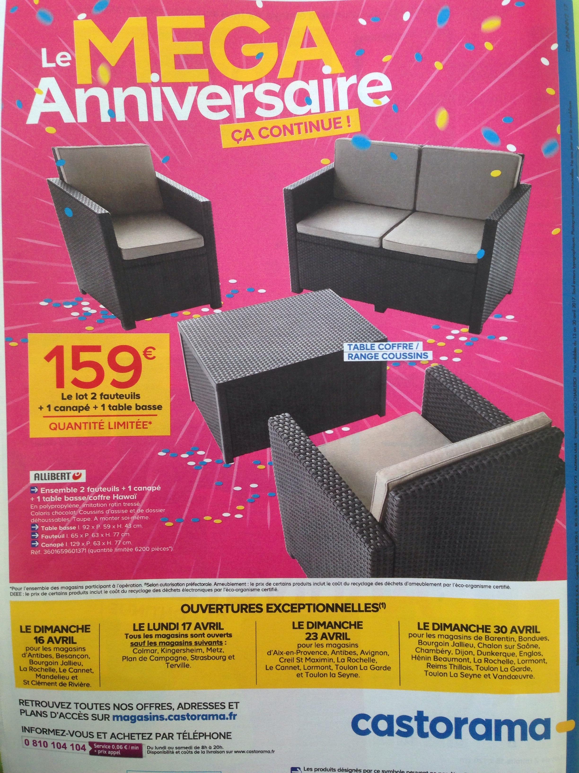 Salon de jardin Hawai Allibert : 1 canapé + 2 fauteuils + 1 table ...
