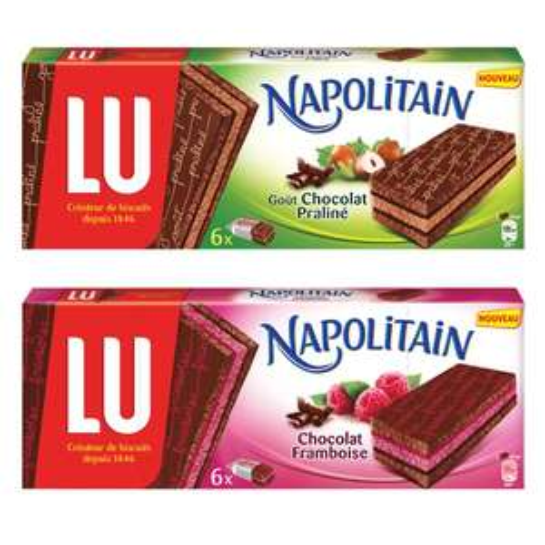 2 paquets de Napolitain Chocolat / Framboise ou Chocolat / Praliné