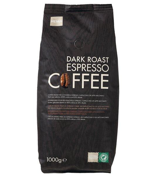 3 paquets de 1Kg de café Hema en grains expresso 100% arabica