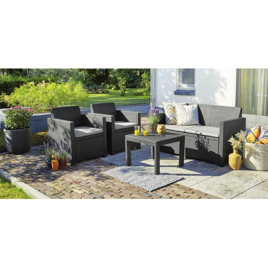 Salon de jardin Allibert Alabama - 1 Canapé + 2 fauteuils + 1 table ...